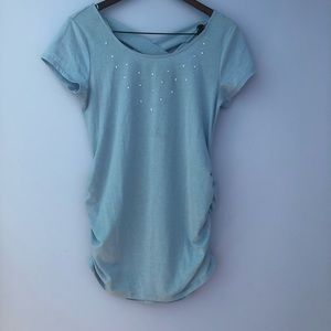 Baby blue crossed back maternity short sleeve